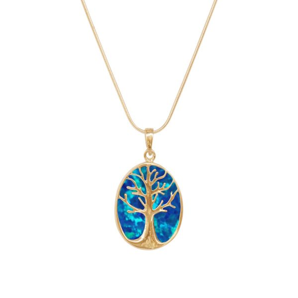 Yellow Gold Cobalt Blue Tree of Life Pendant