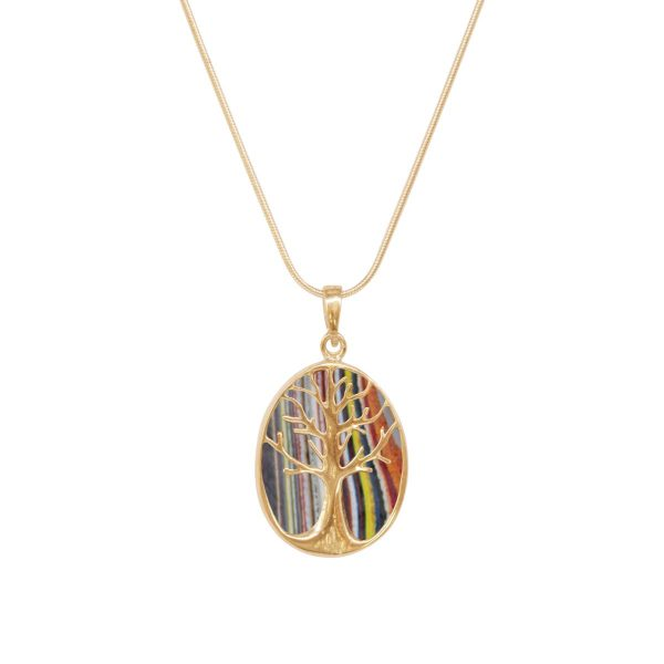 Yellow Gold Fordite Tree of Life Pendant