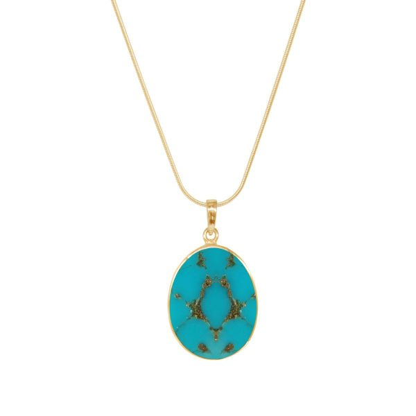 Yellow Gold Turquoise Tree of Life Pendant