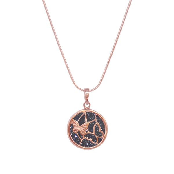 Rose Gold Blue Goldstone Round Butterfly Pendant