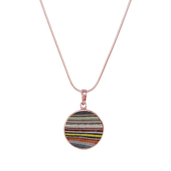 Rose Gold Fordite Round Butterfly Pendant