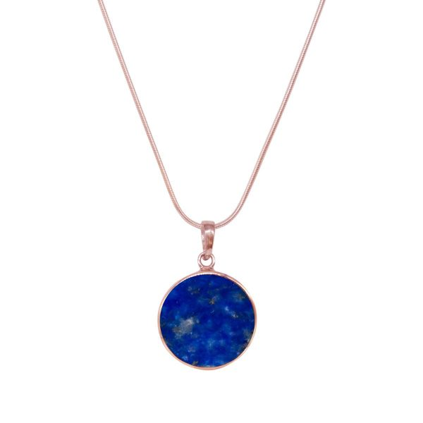 Rose Gold Lapis Round Butterfly Pendant