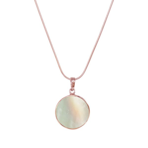 Rose Gold Mother of Pearl Round Butterfly Pendant