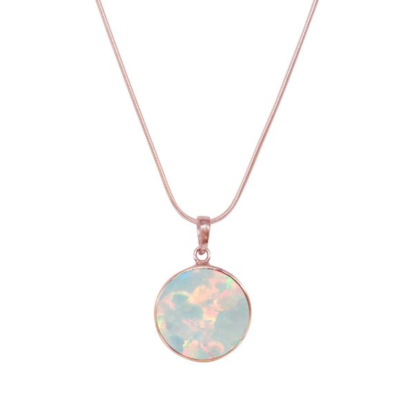 Rose Gold Opalite Sun Ice Round Butterfly Pendant