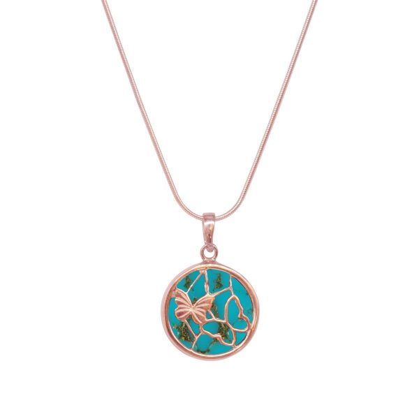 Rose Gold Turquoise Round Butterfly Pendant