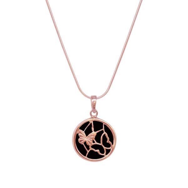 Rose Gold Whitby Jet Round Butterfly Pendant