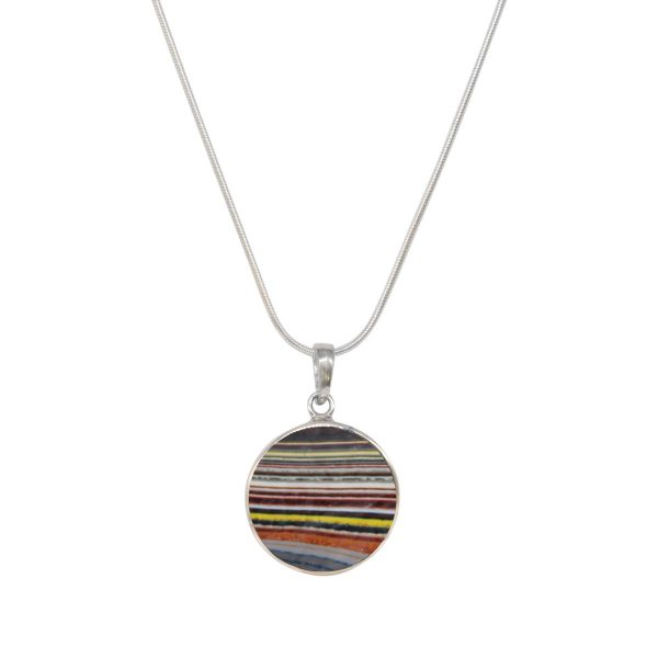 Silver Fordite Round Butterfly Pendant