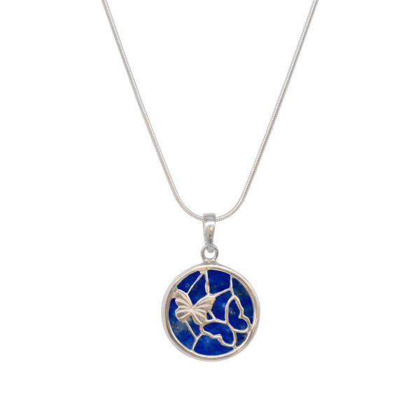 Silver Lapis Round Butterfly Pendant