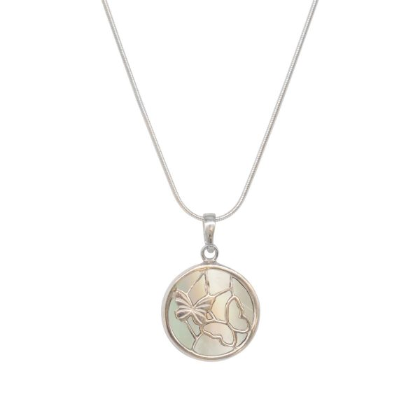 Silver Mother of Pearl Round Butterfly Pendant