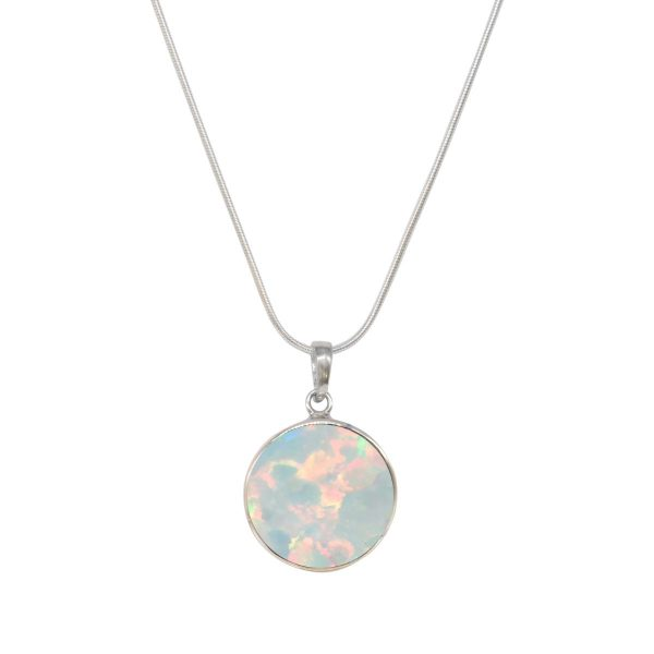 Silver Opalite Round Butterfly Pendant