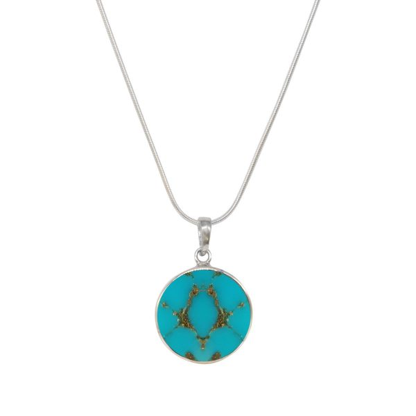 Silver Turquoise Round Butterfly Pendant