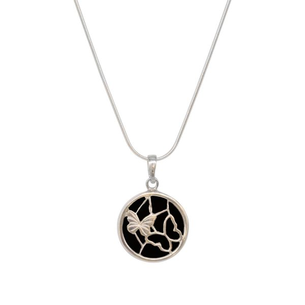Silver Whitby Jet Round Butterfly Pendant