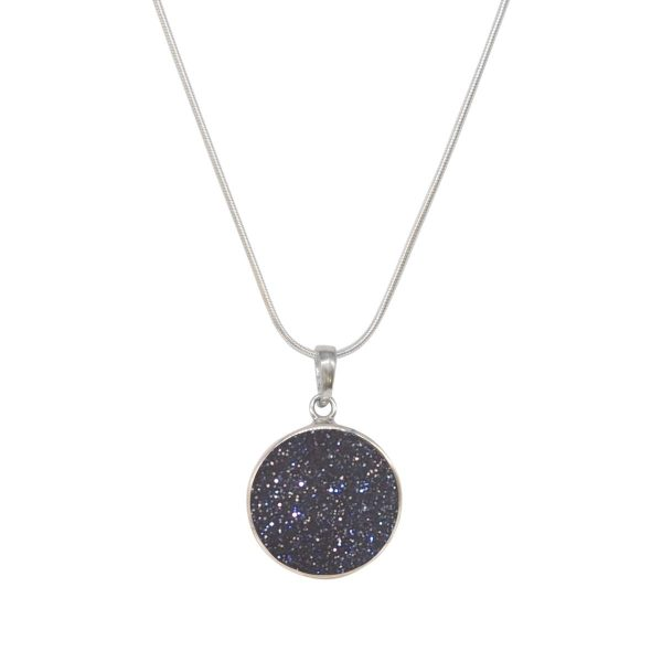White Gold Blue Goldstone Round Double Sided Butterfly Pendant