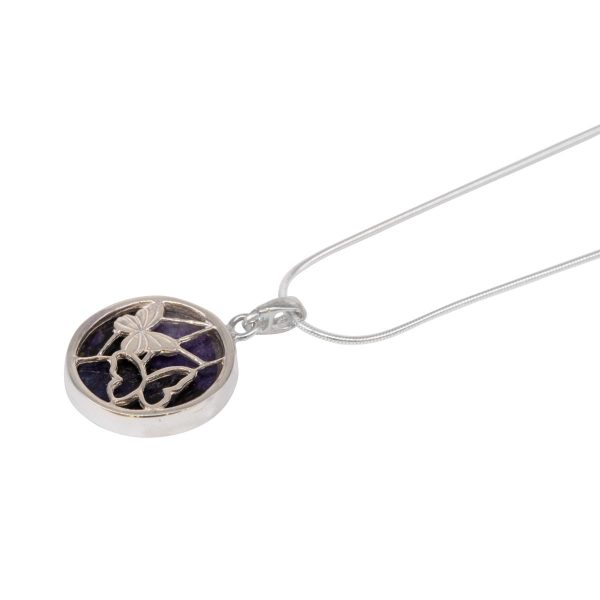 White Gold Blue John Round Double Sided Butterfly Pendant