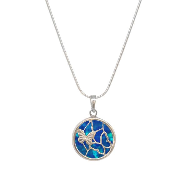 White Gold Opalite Cobalt Blue Round Double Sided Butterfly Pendant