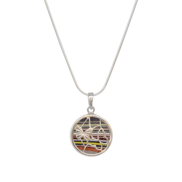 White Gold Fordite Round Double Sided Butterfly Pendant