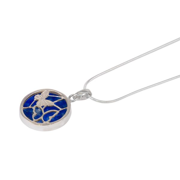 White Gold Lapis Round Double Sided Butterfly Pendant