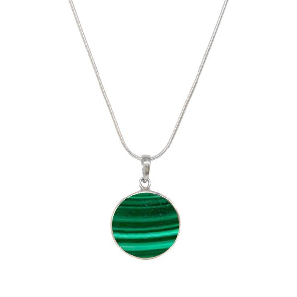 White Gold Malachite Round Double Sided Butterfly Pendant