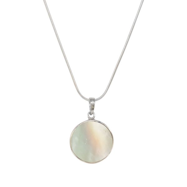 White Gold Mother of Pearl Round Double Sided Butterfly Pendant