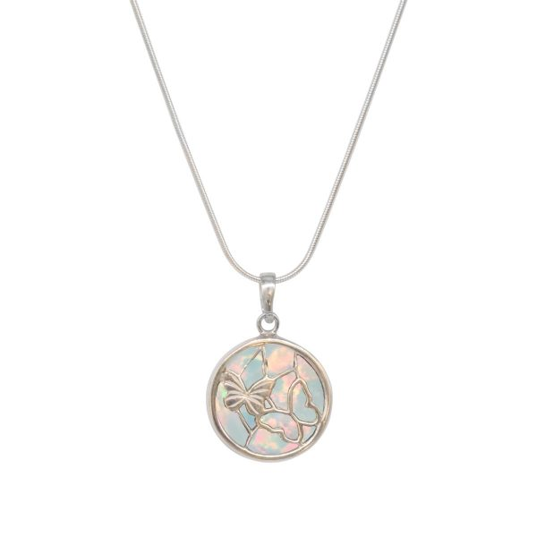 White Gold Opalite Sun Ice Round Double Sided Butterfly Pendant