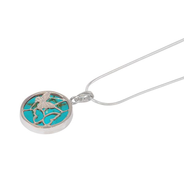 White Gold Turquoise Round Double Sided Butterfly Pendant