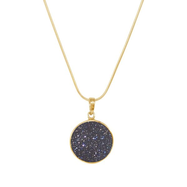 Yellow Gold Blue Goldstone Round Butterfly Pendant