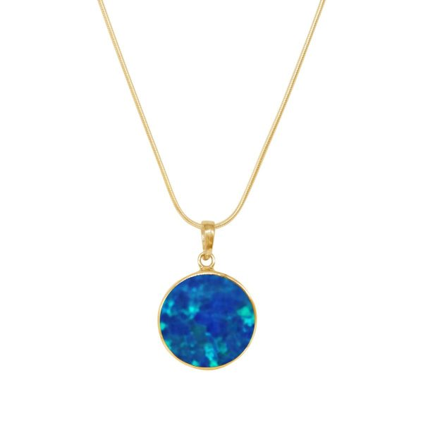 Yellow Gold Cobalt Blue Opalite Round Butterfly Pendant