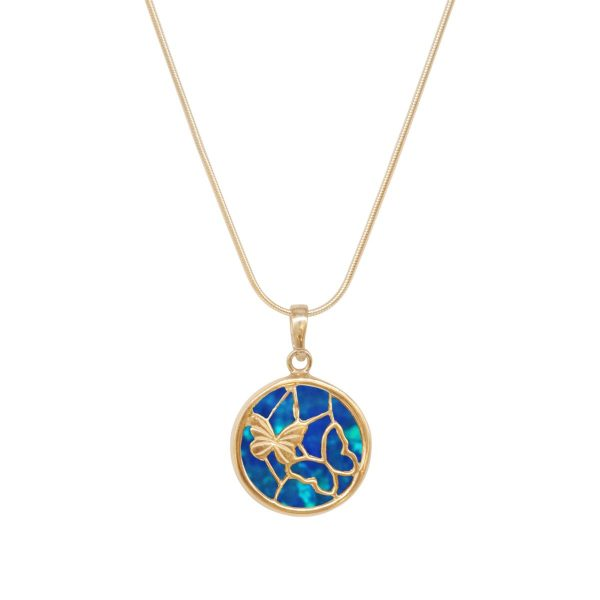 Yellow Gold Opalite Cobalt Blue Round Butterfly Pendant