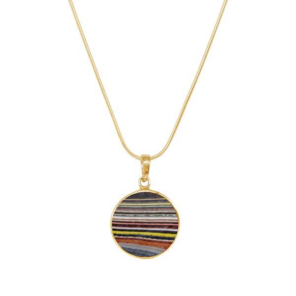 Yellow Gold Fordite Round Butterfly Pendant