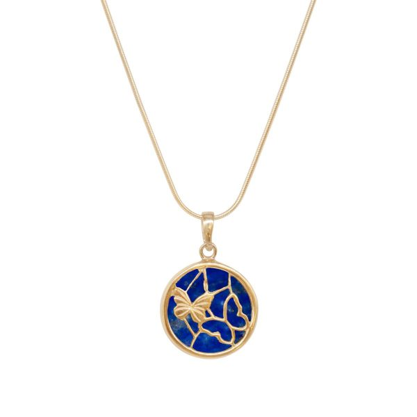 Yellow Gold Lapis Round Butterfly Pendant