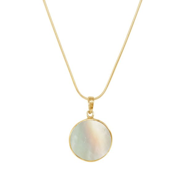 Yellow Gold Mother of Pearl Round Butterfly Pendant