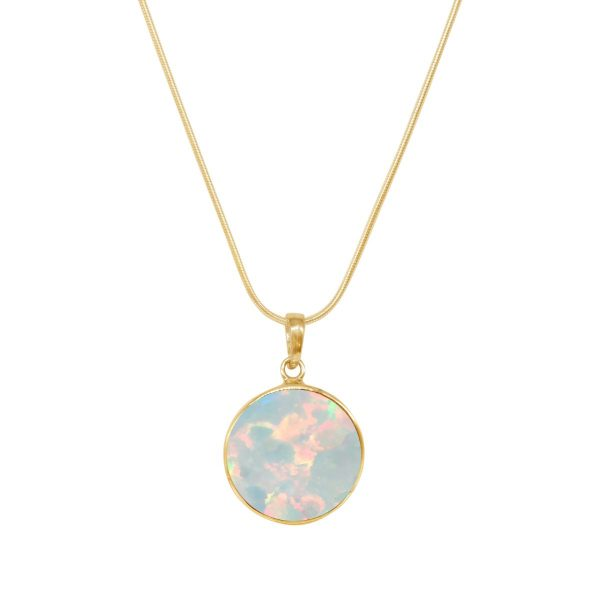 Yellow Gold Opalite Sun Ice Round Butterfly Pendant
