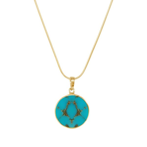 Yellow Gold Turquoise Round Butterfly Pendant