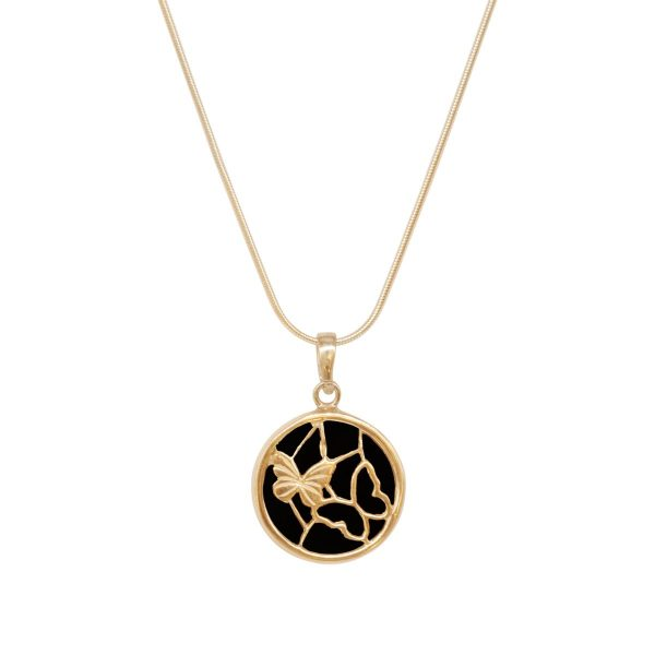 Yellow Gold Whitby Jet Round Butterfly Pendant